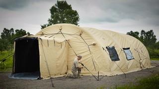 U S  Military Surplus AirBeam Shelter, 32' x 20', Like New - 665055