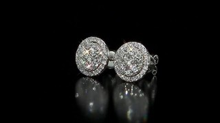 Round Brilliant Diamond Cer Halo Earrings 1 50 Ctw 14kt White Gold Video Gallery