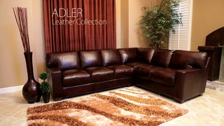 Adler Leather Sectional 187 Abbyson Living Furniture