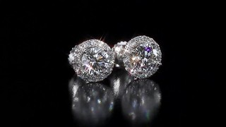 Round Brilliant Diamond Halo Earrings 1 95 Ctw 14kt White Gold Video Gallery